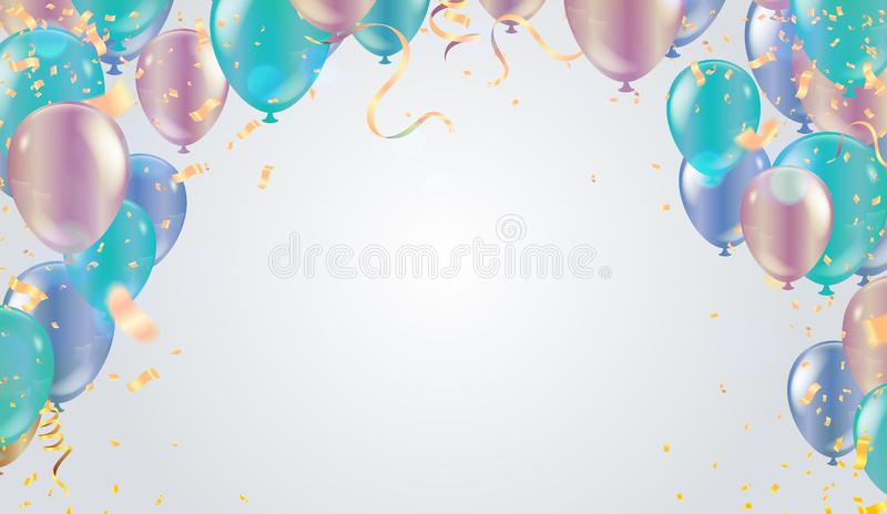 Design balloons sale template happy day, greeting background. Celebration Vector illustration stock illustration