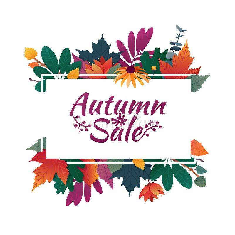 Design banner with autumn sale logo. Discount card for fall season with white frame and herb. Promotion offer with stock illustration