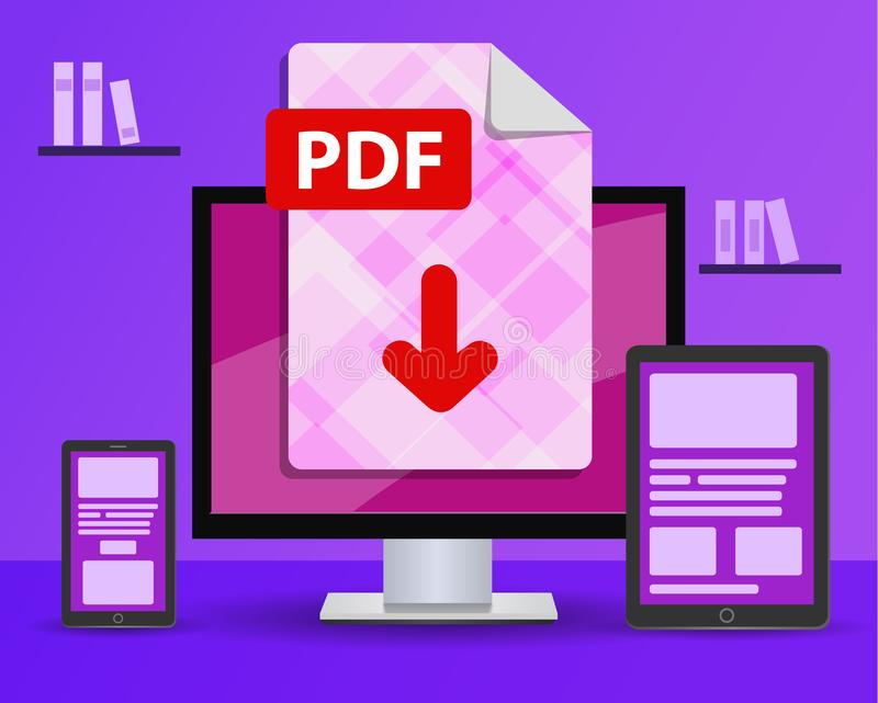 Design banner - download PDF file. desktop computer in the room is standing on the table stock illustration