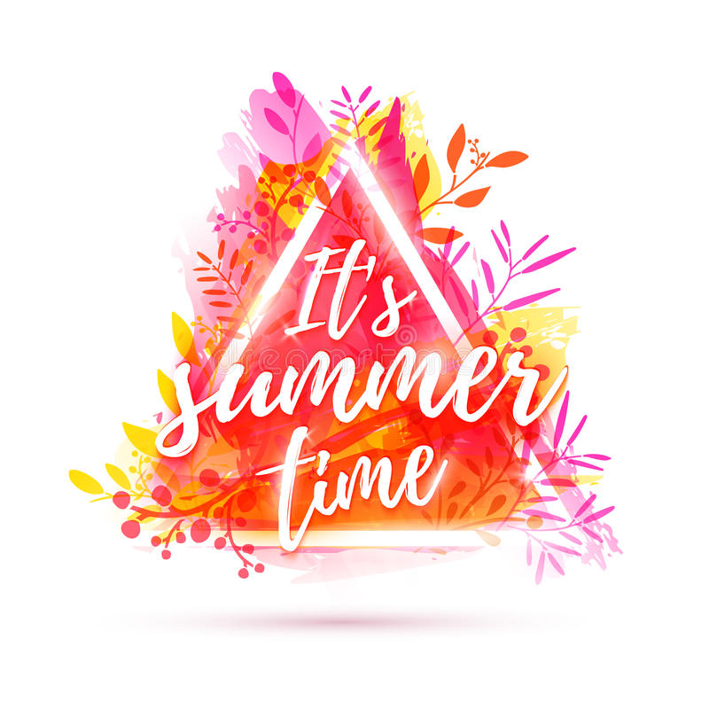 Design banner it`s summer time. Flyer for summer season with triangle frame and herb. Poster with pink flower decoration. On watercolor texture background stock illustration