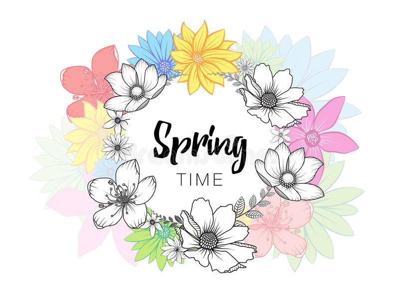 Design banner with spring time wording and hand drawn colorful flowers. Design banner with spring time lettering. Card for spring season with white circle frame vector illustration