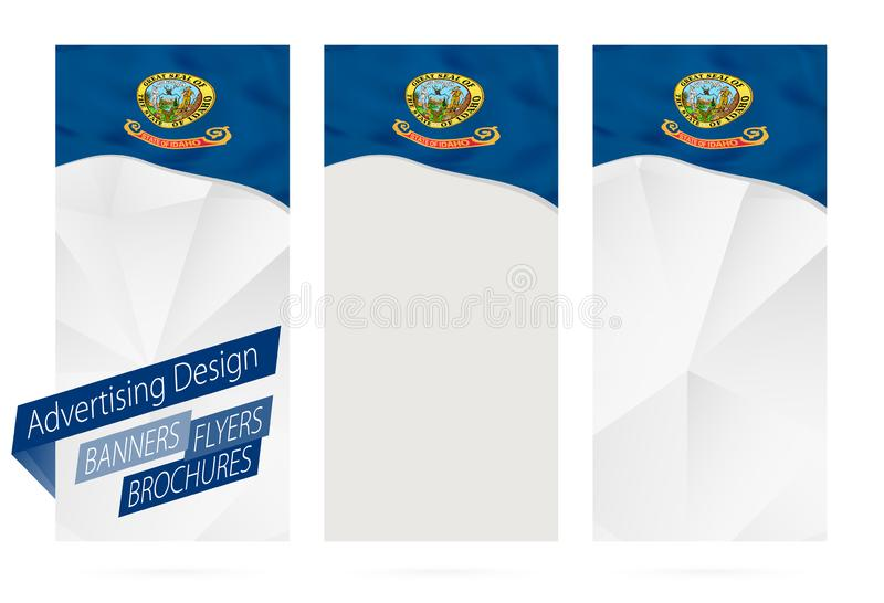 Design of banners, flyers, brochures with Idaho State Flag. Leaflet Template for website or printing. Vector Illustration royalty free illustration