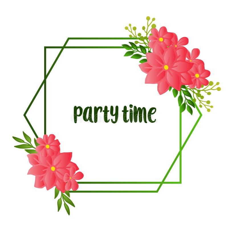 Design beautiful card of party time, line for artwork of green leafy flower frame. Vector. Illustration stock illustration