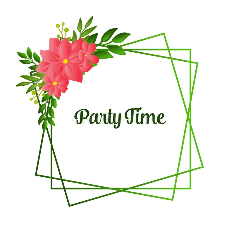 Design beautiful card of party time, line for artwork of green leafy flower frame. Vector. Illustration royalty free illustration