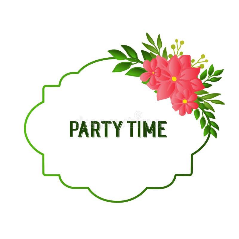 Design beautiful card of party time, line for artwork of green leafy flower frame. Vector. Illustration vector illustration