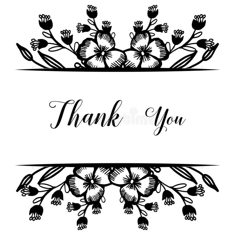 Design beautiful flower frame, color black white isolated on a white backdrop, ornate of greeting card thank you. Vector vector illustration