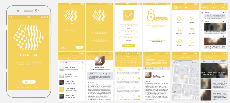 Design beweglicher APP, UI, UX, GUI lizenzfreie abbildung