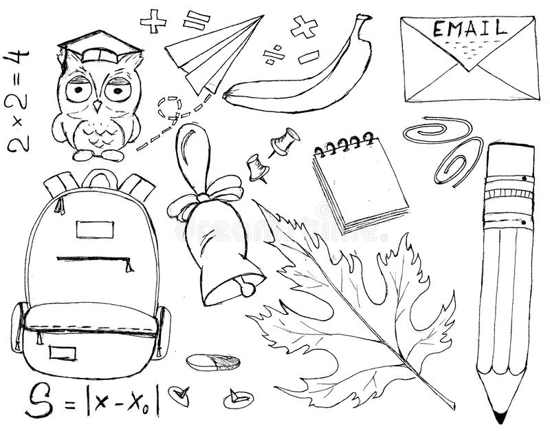 Design black and white set with schoolgirl, schoolboy and school objects on white. Back to school illustration stock illustration