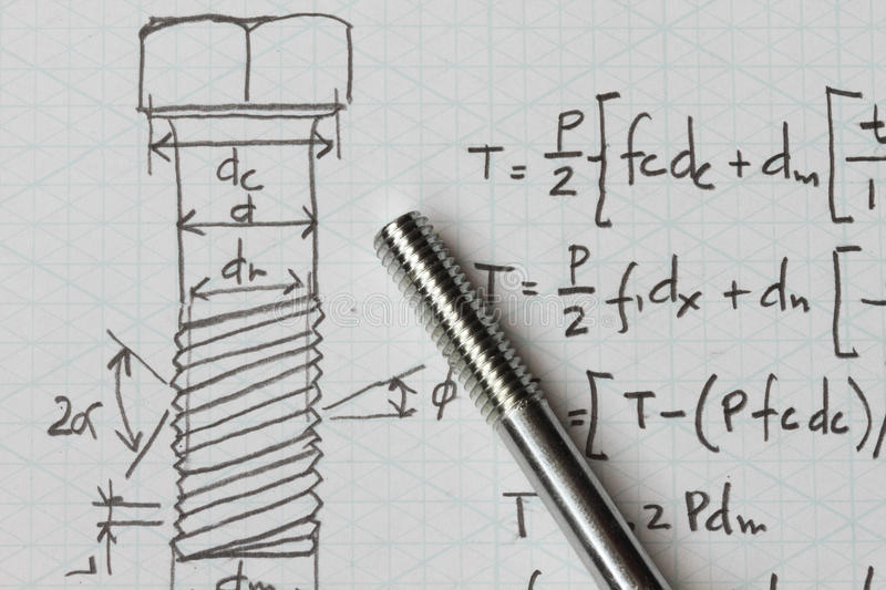 Design of bolt. With equation formula and bolt royalty free stock image