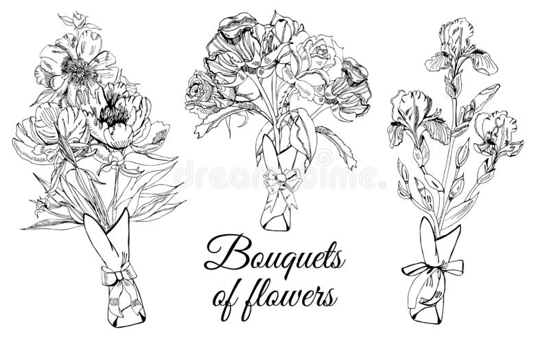 Design  with bouquets of different flowers. Hand drawn ink sketch of iris, peony and rose. Black objects isolated on white background for banner, invitation or stock illustration