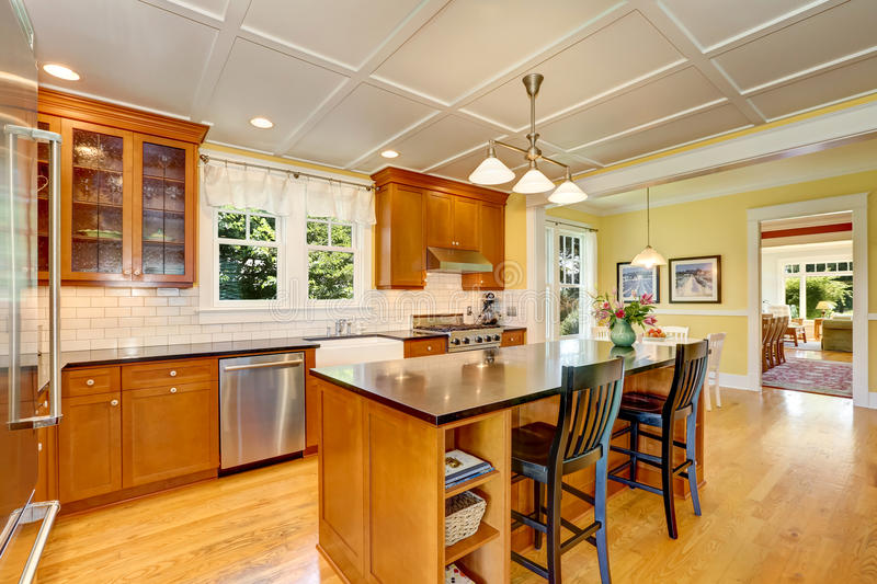 Design of brown wooden kitchen with steel appliances. Bar style kitchen island with fresh flowers and pendant lights. Northwest, USA royalty free stock photography