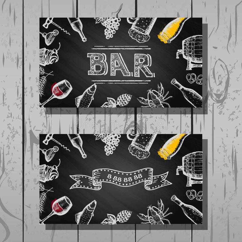 Design business card of bar and restaurant, beer and wine set vector illustration