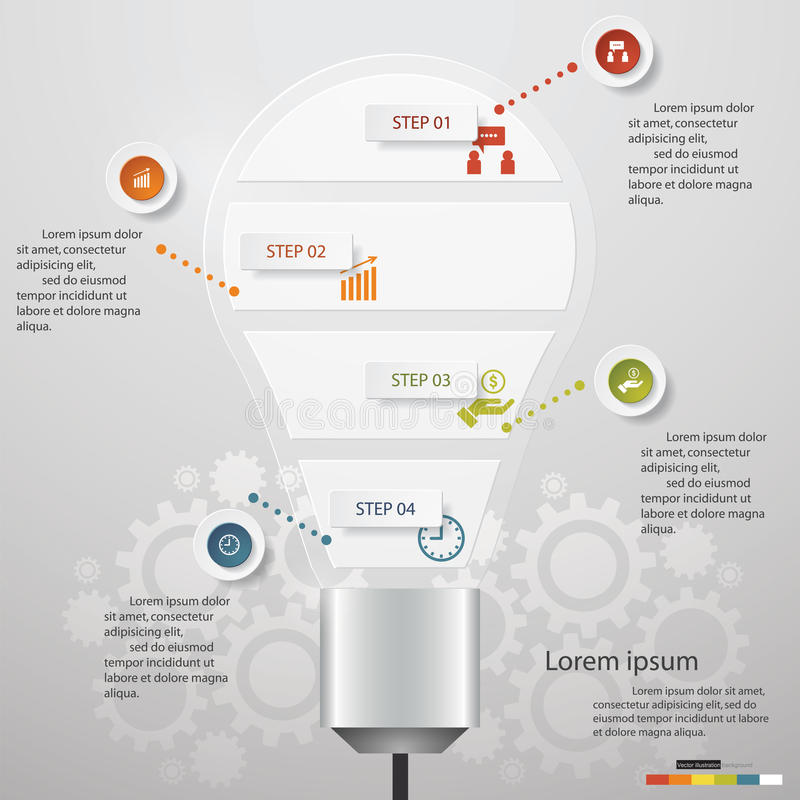 Design Business Chart 5 Steps Diagram in Light Bulb Shape. vector illustration