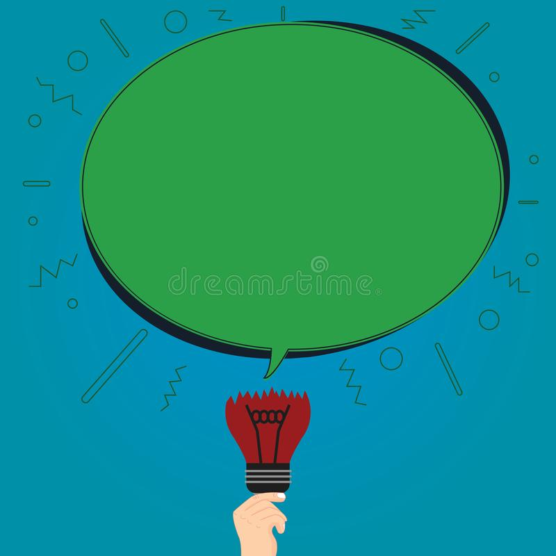 Design business concept Empty copy space modern abstract background Blank Oval Color Speech Bubble Above a Broken Bulb. Design business concept Empty copy space stock illustration