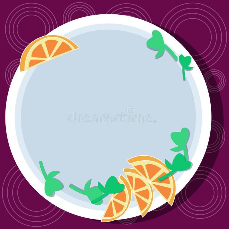 Design business concept Empty copy space modern abstract background Cutouts of Sliced Lime Wedge and Herb Leaves on. Design business concept Empty copy space stock illustration