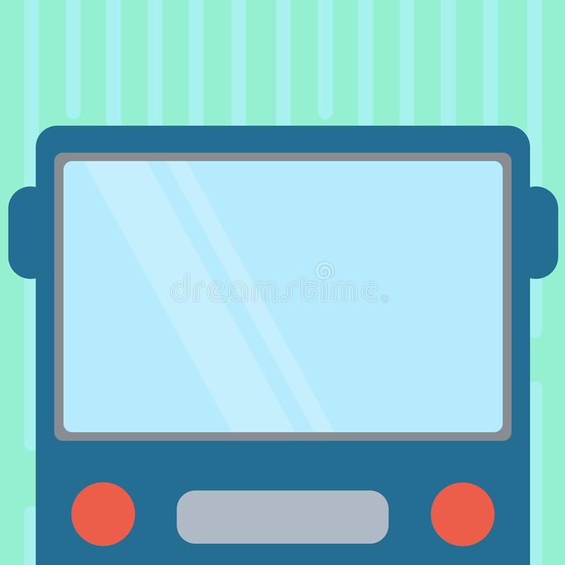 Design business concept Empty copy space modern abstract background Drawn Flat Front View of Bus with Blank Color Window. Design business concept Empty copy stock illustration