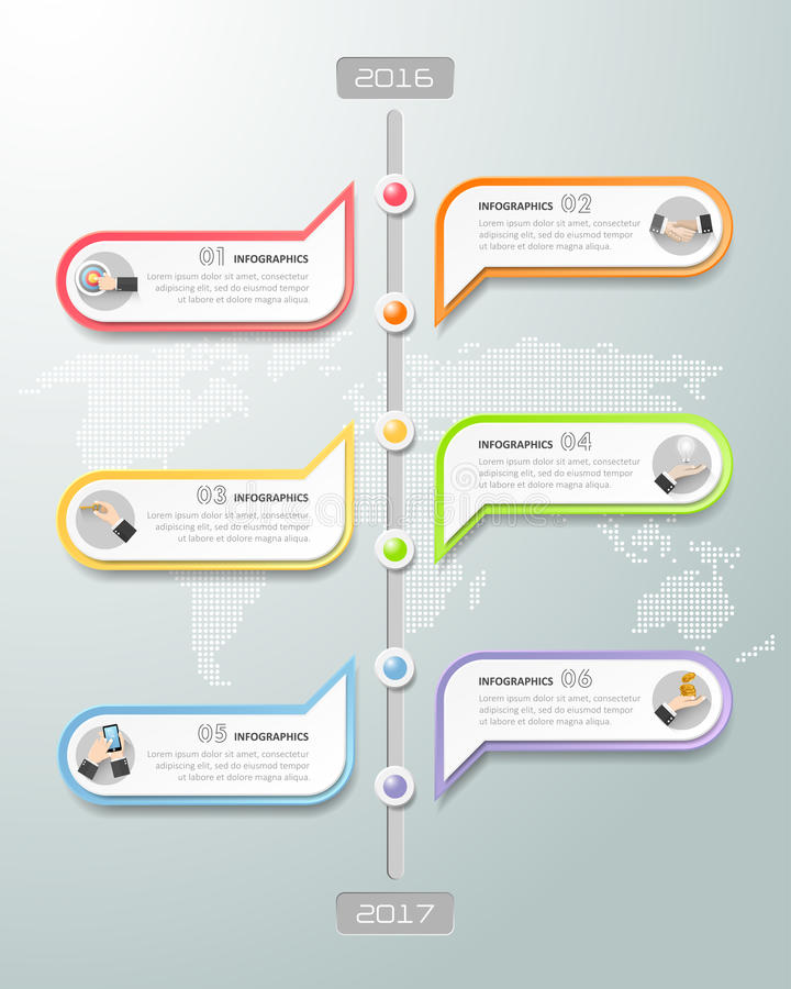 Design business timeline infographic, Infographic template 6 options for business concept. Design business timeline infographic, Infographic template, business vector illustration
