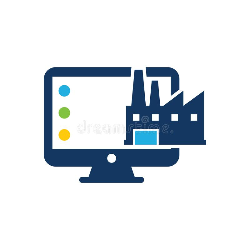 Factory Computer Logo Icon Design royalty free illustration