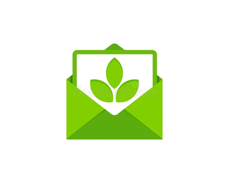 Leaf Mail Logo Icon Design stock illustration