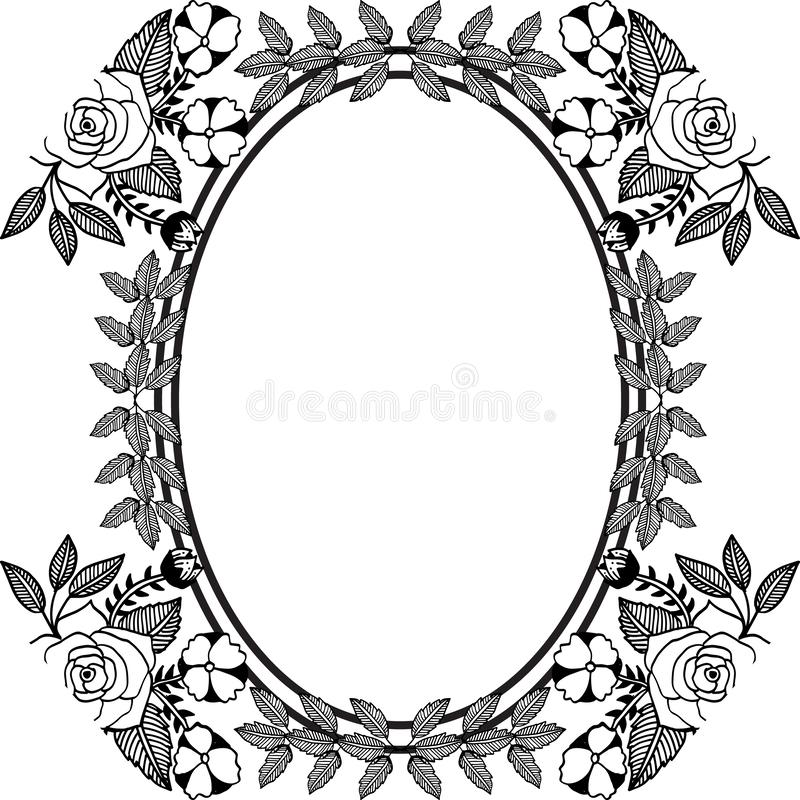 Design for cards, feature border of floral and leaf. Vector. Illustration royalty free illustration