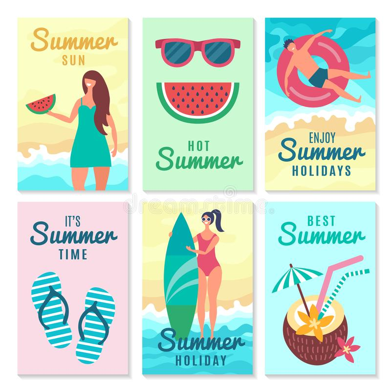 Design cards with summer symbols and various characters royalty free illustration