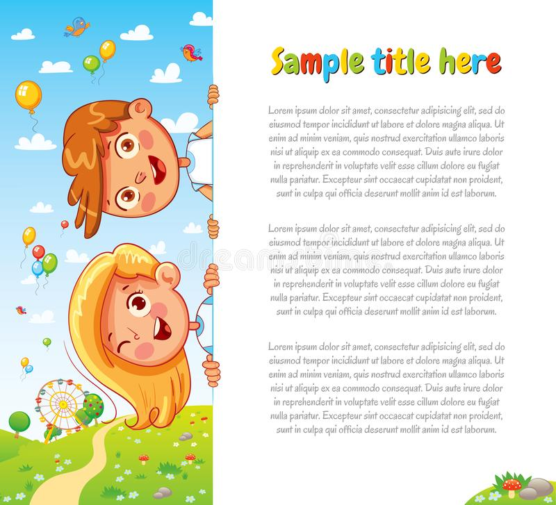 Design with children and summer background. Happy children holding blank poster. Template for advertising brochure. Ready for your message. Space for text stock illustration