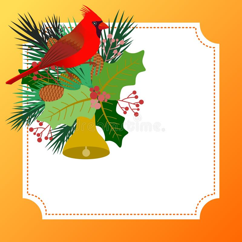 Design with Christmas card with floral elements and a cardinal bird vector illustration