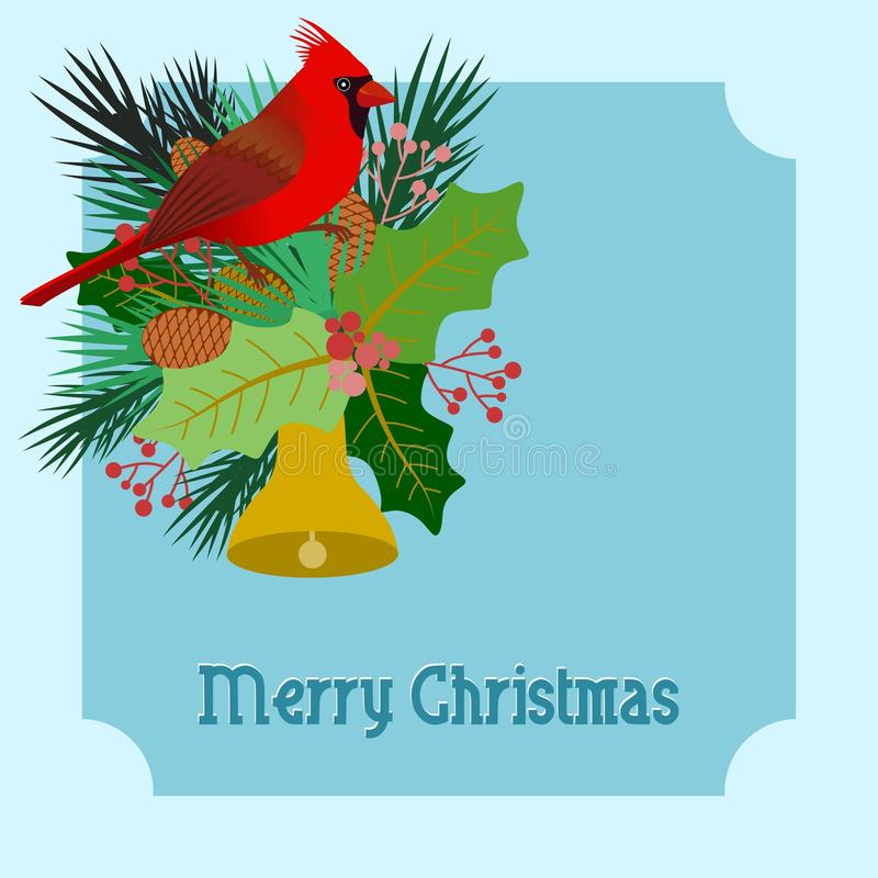 Design with Christmas card with floral elements and a cardinal bird royalty free illustration