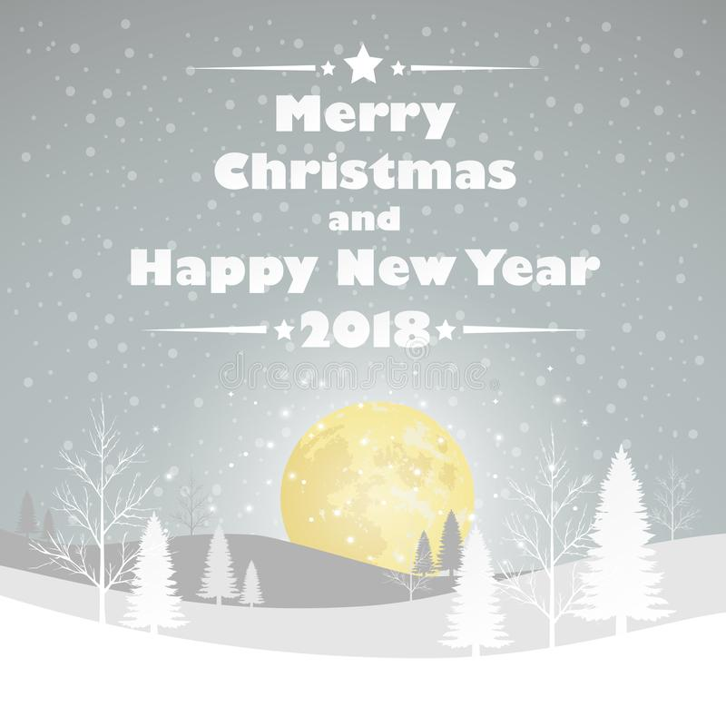 Design Christmas greeting card, and 2018 Happy new year message, Vector illustration. vector illustration