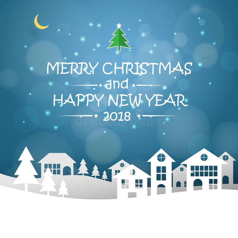 Design Christmas greeting card, and 2018 Happy new year message royalty free illustration