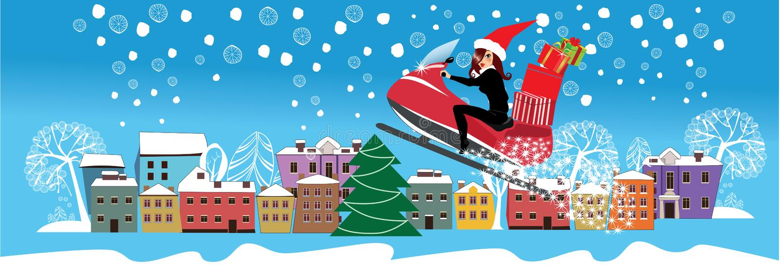 Design of christmas winter city and girl on snowmobile carries gifts, holiday card for promotional materials of Christmas vector illustration