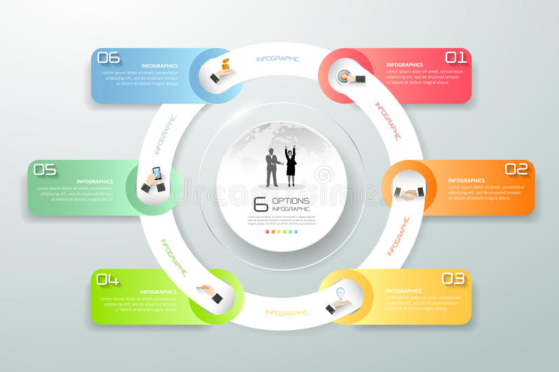 Design circle infographic 6 steps, Business timeline infographic, vector infographic, Infographics stock can be used for workflow royalty free illustration