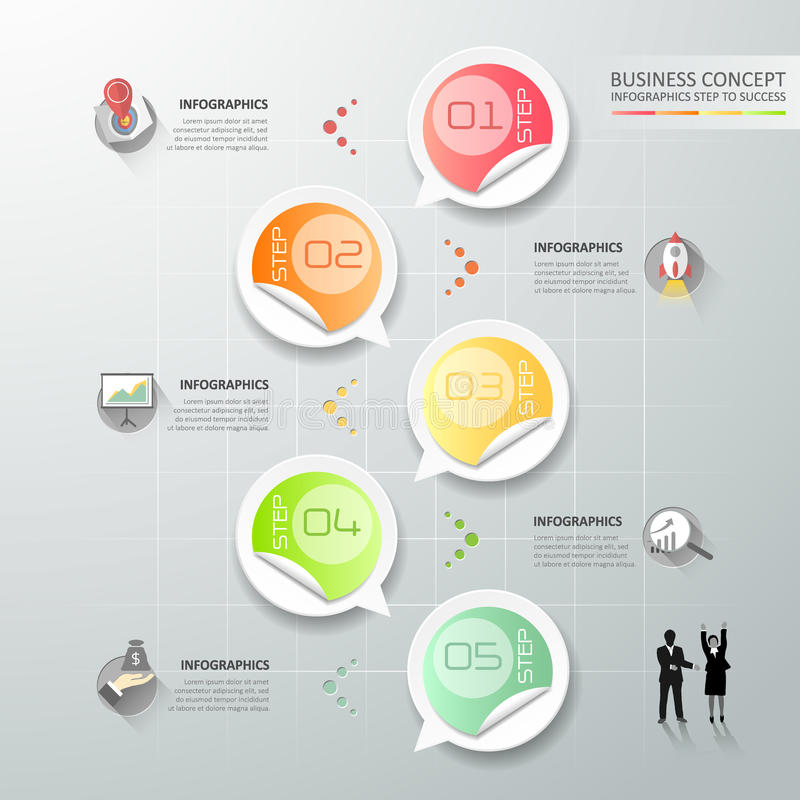 Design circle infographic template 5 steps for business concept. Vector illustration royalty free illustration