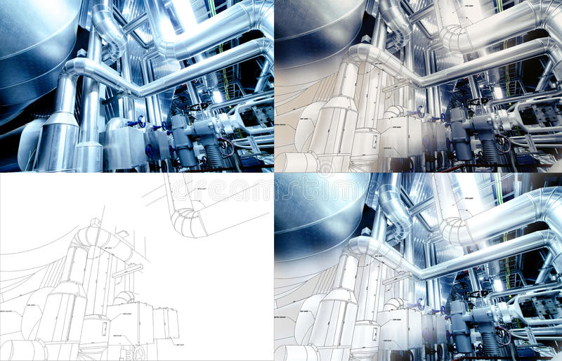 Design collage concept with blueprints and pipelines at factory stock image