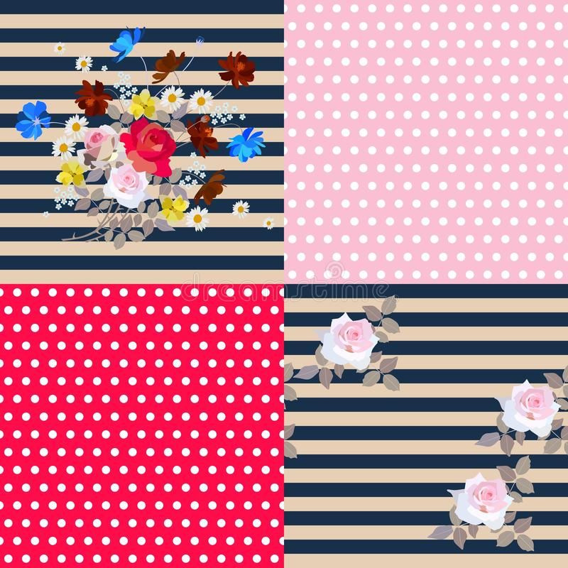 Design collection: two main floral striped patterns and two companions polka dot.  royalty free illustration