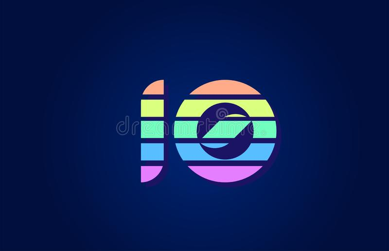 Design of colored number 10 in for company logo icon design ilustração royalty free