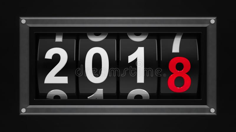 New year 2018 counter 3. Design component of a counter dial that is showing the year 2018, three-dimensional rendering, 3D illustration stock illustration
