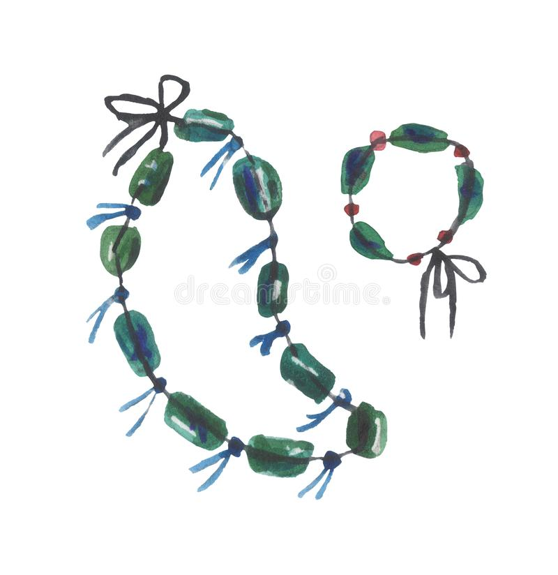 Watercolor set of a pair of necklaces of jewelry on a white background. For design compositions on the theme of summer vacations, travel. Isolation n stock illustration