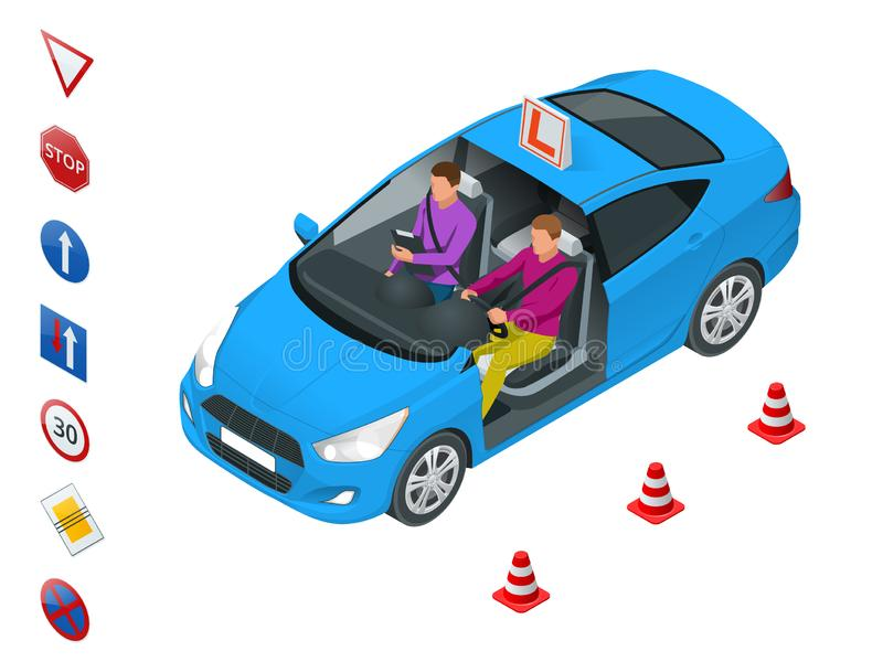 Design concept driving school or learning to drive. Flat vector isometric illustration.  stock illustration