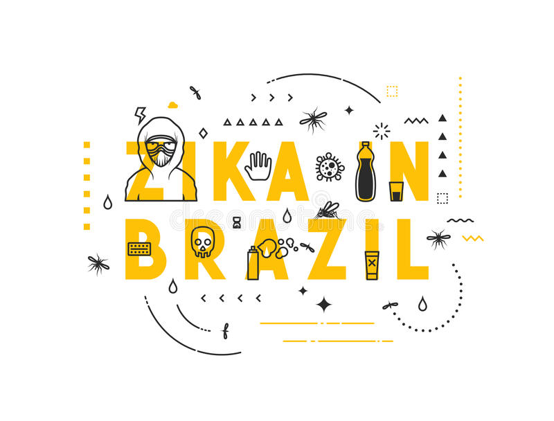 Design concept epidemic of virus zika in Brazil. Modern line style illustration. Concepts of words zika in Brazil, style thin line art, design banners for stock illustration