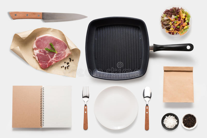 Design concept of mockup bbq steak set isolated on white background. Copy space for text and logo. Clipping Path included isolate. D on white background royalty free stock image