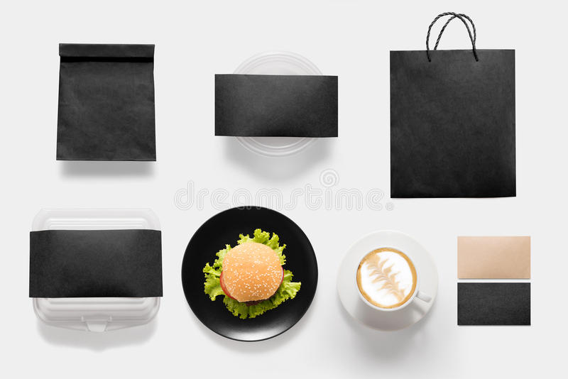 Design concept of mockup burger and coffee break time set isolated on white background. Copy space for text and logo. Clipping Pa royalty free stock photos