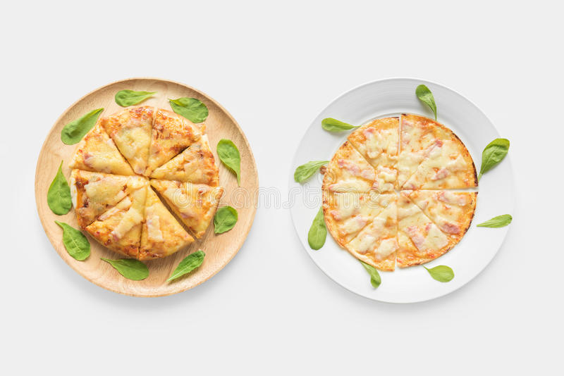 Design concept of pizza set isolated on white background. Clipping Path included on white background royalty free stock photo