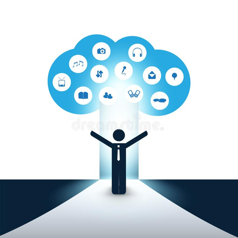 New Possibilities - Business, Solutions Finding, Cloud Computing. Design Concept with a Standing Business Man and Icons - Digital Network Connections, Technology stock illustration