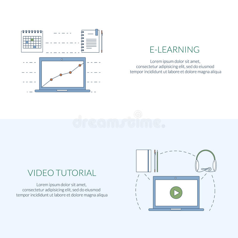Design concept for studying, learning, distance and online education, video tutorials. Flat line web banners, icons stock illustration