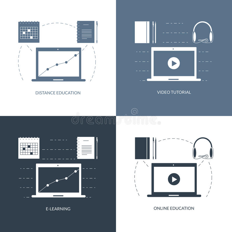 Design concept for studying, learning, distance and online education, video tutorials. Web banners, icons. Vector flat royalty free illustration