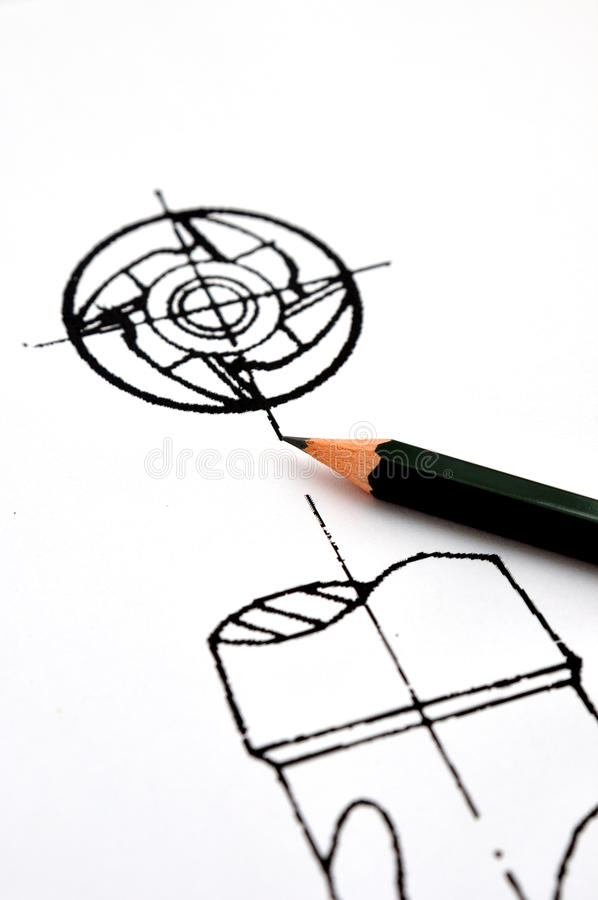 Design concept, whirl part of tool. A whirl part draft with pencil, design concept royalty free stock image