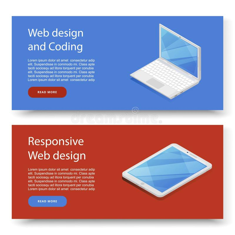 Design concepts for advertising programming and coding device. Website development, web design. Modern design banner for vector illustration