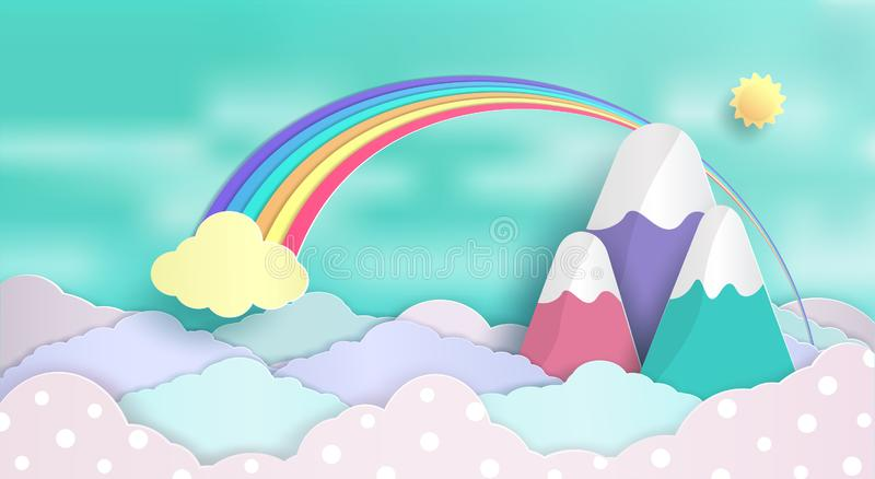 Design of concepts and rainbows floating in the sky. And a beautiful pastel clouds. and And feel the refreshing nature and fresh air. and origami or paper cut royalty free illustration