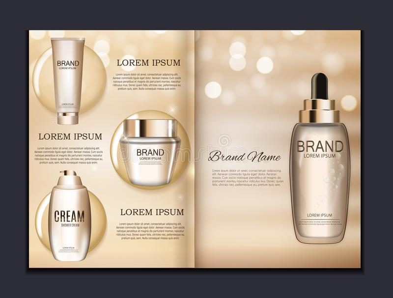 Design Cosmetics Product Brochure Template For Ads Or Magazine